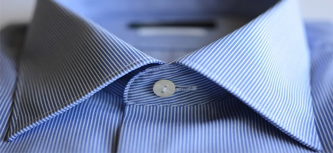 blue striped shirt with forward point collar