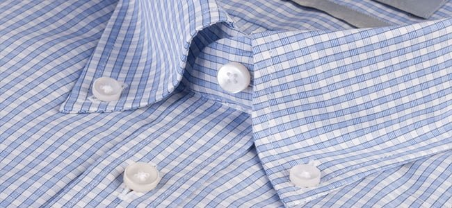 blue checked shirt with button down collar