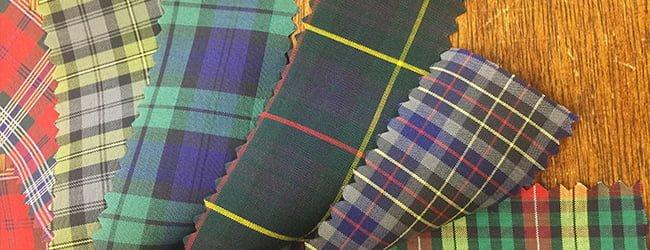 Tartan fabric swatches