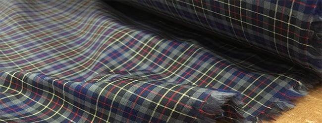 blue checked tartan fabric