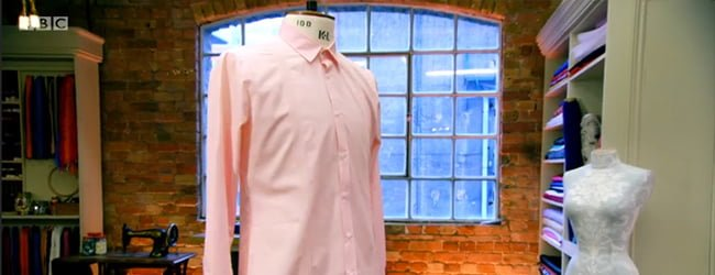 Acorn Pink Monarch Shirt Fabric on The Great British Sewing Bee