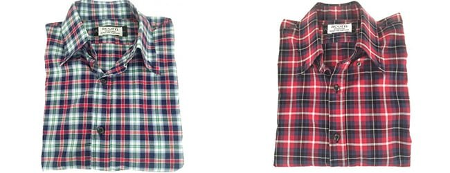cotton fabric check shirts side by side