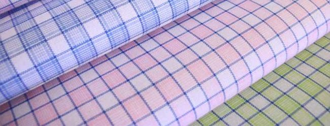 blue and pink check Voile fabrics