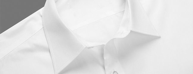 pinpoint collar on a white cotton shirt