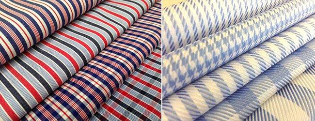 different coloured striped shirt fabrics