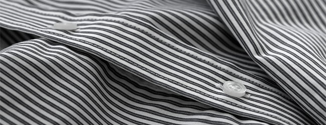 black and white striped cotton fabric shirt