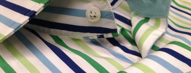 green striped shirting fabric