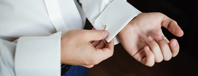 white dress shirt and cuff links