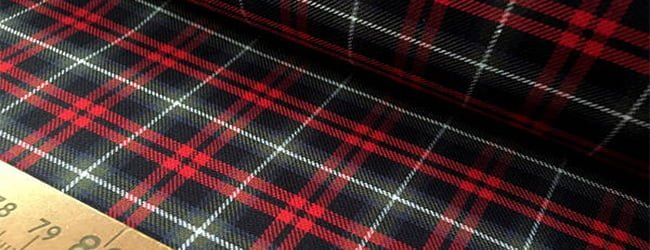 black and red cotton tartan fabric