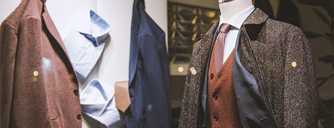 tweed suit in shop window