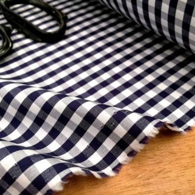 King AQ midnight check fabric