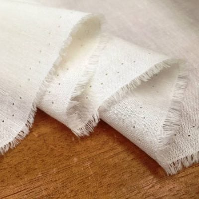 Barbados Plain Cream Linen/Bamboo Fabric