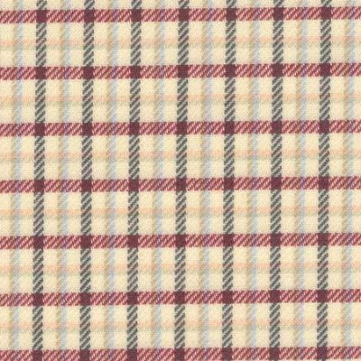 Fife 50 burgundy brushed cotton check fabric