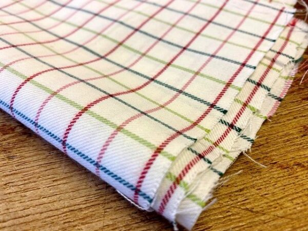 Fife 60 claret (red) check fabric