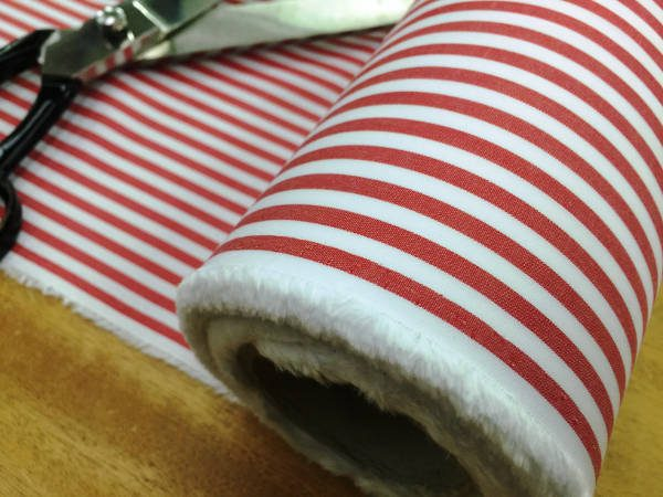 King AP red Striped Fabric