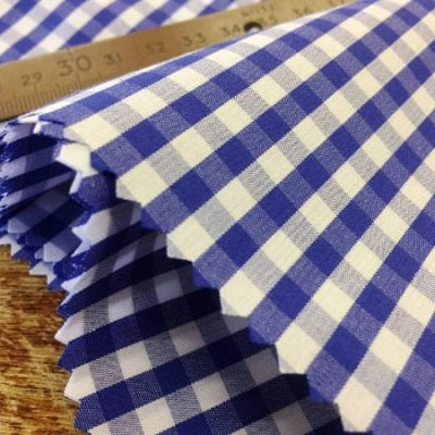 King AQ navy check fabric