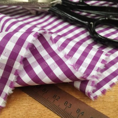 King AQ purple check fabric