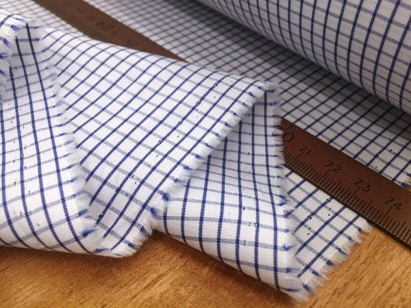 King CR navy check fabric