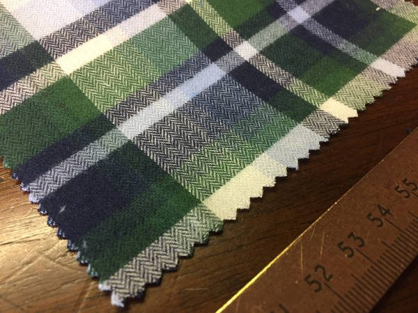 Sterling 48 green brushed cotton checked fabric