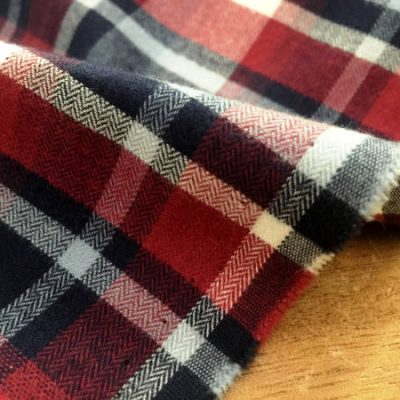 Sterling 48 red brushed cotton checked fabric
