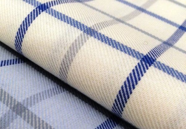 Fife 25 blue brushed cotton check fabric