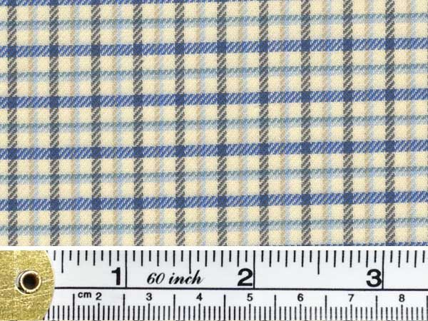 Fife 50 blue brushed cotton check fabric