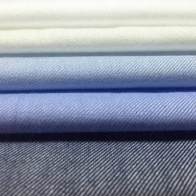 Fife plain navy brushed cotton fabric