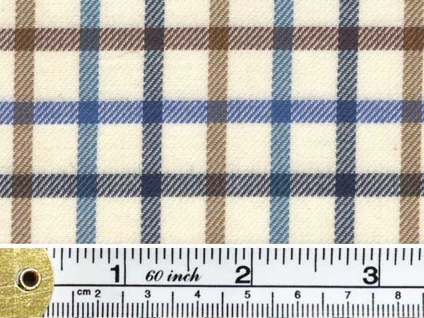 Kendal stag blue check fabric