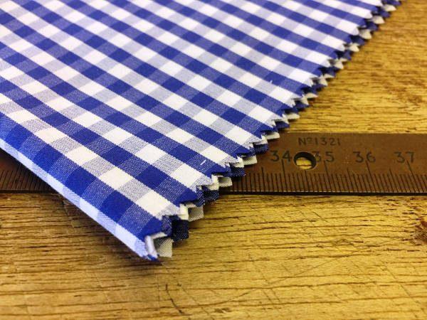 King AQ navy check fabric