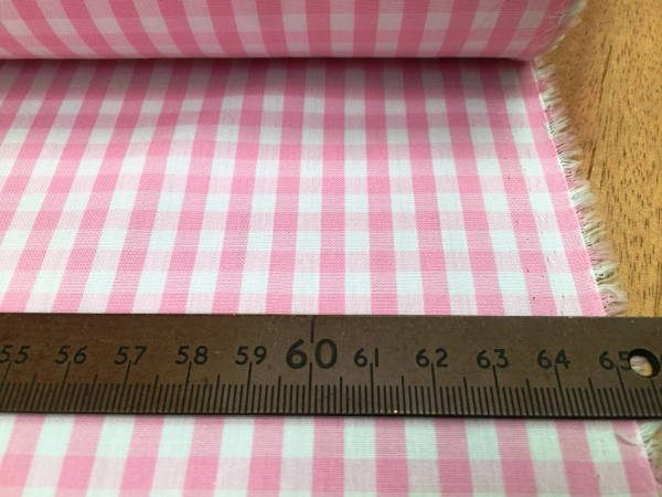 King AQ pink check fabric