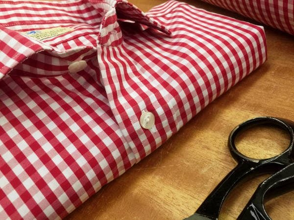 King AQ red check fabric