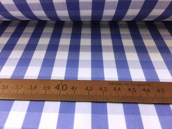 King BG blue check fabric