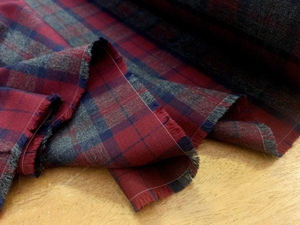 Fife 98 Claret Check Fabric