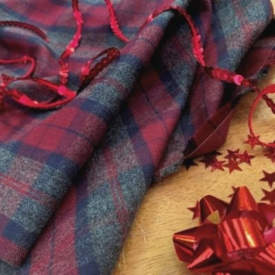 *Fife 98 Claret Check Fabric