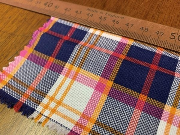 Royal oxford 49 orange check fabric