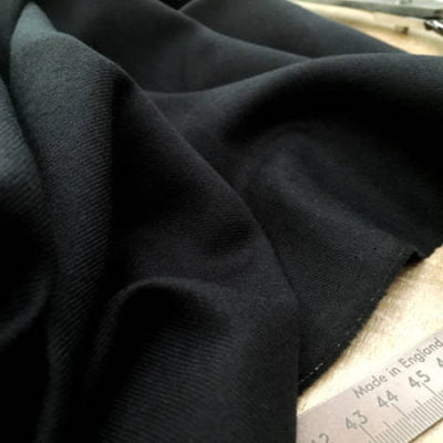 Sterling plain black brushed cotton fabric