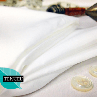 Noble plain white cotton & tencel poplin fabric