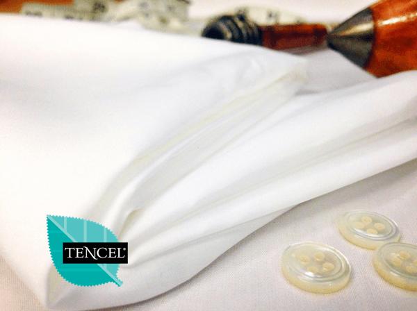 Noble plain white cotton & tencel poplin fabric