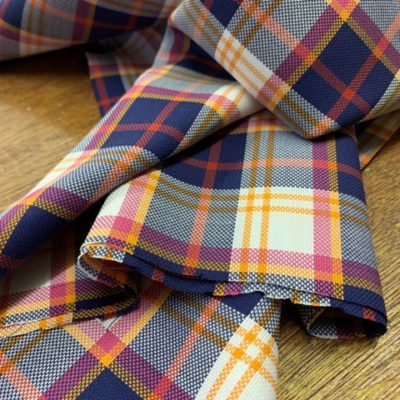 Royal oxford 79 orange check fabric