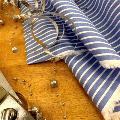 *Windermere 16 Kings blue striped fabric