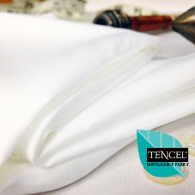 *Noble plain white cotton & tencel poplin fabric