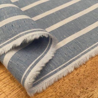 Aruba 88 Sky Blue Stripe Cotton & Linen Fabric