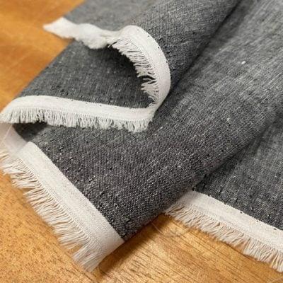 Aruba Plain Graphite Cotton & Linen Fabric