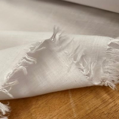 Aruba Plain White Cotton & Linen Fabric