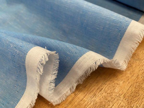 Aruba Plain Azure Blue Cotton & Linen Fabric