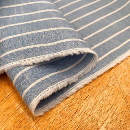 Aruba 90 Blue Stripe Cotton & Linen Fabric