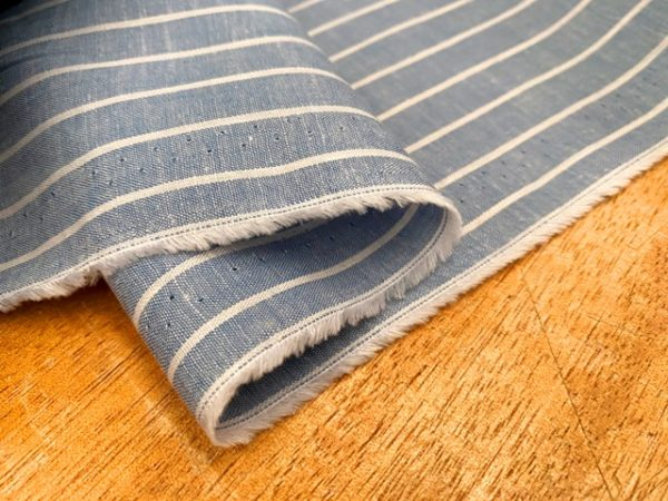 Aruba 90 Blue Stripe Cotton & Linen Fabric