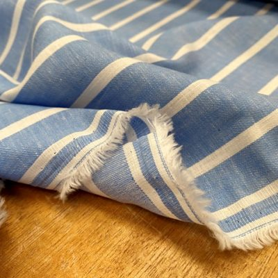 Aruba 93 Azure Blue Stripe Cotton & Linen Fabric