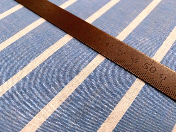 Aruba 93 Azure Blue Stripe Cotton & Linen Fabric