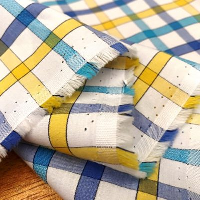 Hampton 157 yellow check fabric